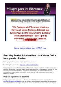 Best Way To Get Solucion Para Los Calores De La Menopausia - Review