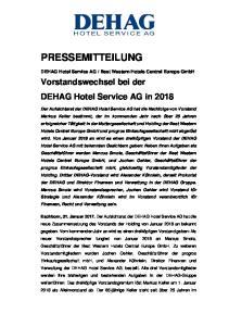 Best Western Hotels Central Europe GmbH. Vorstandswechsel bei der DEHAG Hotel Service AG in 2018