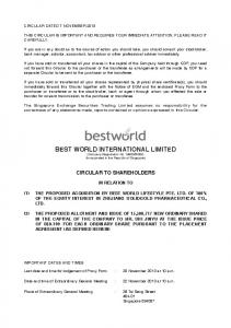 BEST WORLD INTERNATIONAL LIMITED (Company Registration No Z) (Incorporated in the Republic of Singapore)