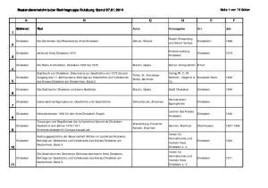 Bestandsverzeichnis der Bezirksgruppe Duisburg Stand
