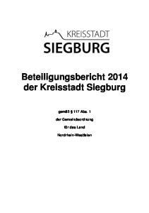 Beteiligungsbericht 2014 der Kreisstadt Siegburg