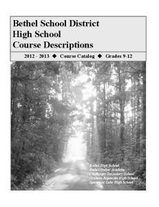 Bethel School District High School Course Descriptions