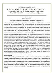 BETHESDA (LEPROSY) HOSPITAL NARSAPUR, W.G. DIST, ANDHRA PRADESH, INDIA