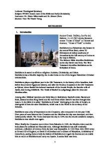 BETHLEHEM 1. Introduction