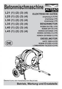 Betonmischmaschine L21 (1) (2) (3) (4) L25 (1) (2) (3) (4) L30 (1) (2) (3) (4) L35 (1) (2) (3) (4) L40 (1) (2) (3) (4) L45 (1) (2) (3) (4)