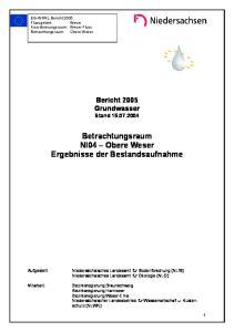 Betrachtungsraum NI04 Obere Weser Ergebnisse der Bestandsaufnahme