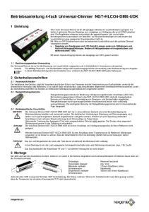 Betriebsanleitung 4-fach Universal-Dimmer NGT-HLCO4-DMX-UDK