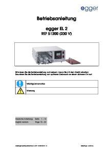 Betriebsanleitung. egger EL 2 REF (230 V)