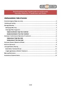 Betriebsanleitung für Transformatoren und Drosseln Operating Manual for Transformers and Chokes