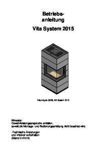 Betriebsanleitung. Vita System 2015
