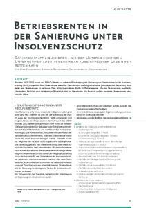 Betriebsrenten in der Sanierung unter Insolvenzschutz