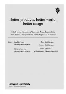 Better products, better world, better image