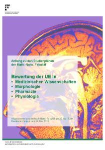 Bewertung der UE in Medizinischen Wissenschaften Morphologie Pharmazie Physiologie