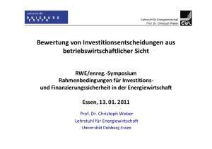 Bewertung von Investitionsentscheidungen aus betriebswirtschaftlicher Sicht