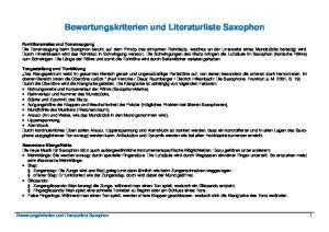 Bewertungskriterien und Literaturliste Saxophon