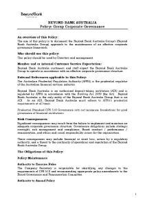 BEYOND BANK AUSTRALIA Policy: Group Corporate Governance