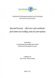 Beyond beauty - affective and aesthetic processes in reading and art perception