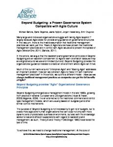 Beyond Budgeting: a Proven Governance System Compatible with Agile Culture