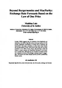 Beyond Burgernomics and MacParity: Exchange Rate Forecasts Based on the Law of One Price