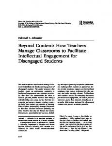 Beyond Content: How Teachers Manage Classrooms to Facilitate Intellectual Engagement for Disengaged Students