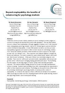 Beyond employability: the benefits of volunteering for psychology students