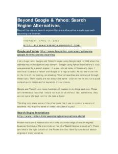 Beyond Google & Yahoo: Search Engine Alternatives