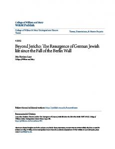 Beyond Jericho: The Resurgence of German Jewish life since the Fall of the Berlin Wall