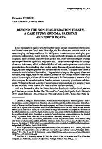 BEYOND THE NON-PROLIFERATION TREATY. A CASE STUDY OF INDIA, PAKISTAN AND NORTH KOREA