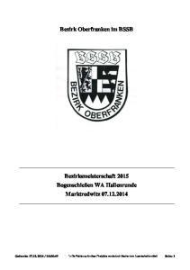 Bezirk Oberfranken im BSSB