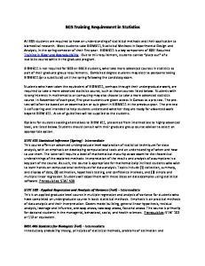 BGS Training Requirement in Statistics