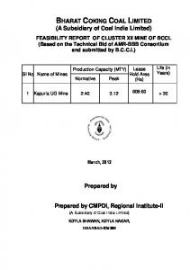 BHARAT COKING COAL LIMITED (A Subsidiary of Coal India Limited)