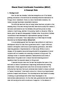 Bharat Rural Livelihoods Foundation (BRLF) A Concept Note