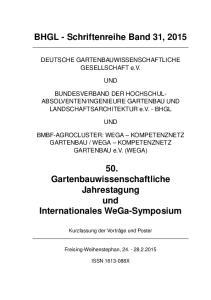BHGL - Schriftenreihe Band 31, 2015
