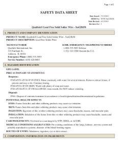 Bi58. MANUFACTURER 24 HR. EMERGENCY TELEPHONE NUMBERS Qualitek International, Inc