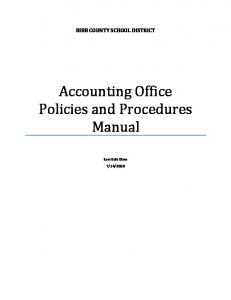 BIBB COUNTY SCHOOL DISTRICT. Accounting Office Policies and Procedures Manual