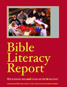Bible Literacy Report What do American teens need to know and what do they know?