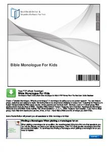 Bible Monologue For Kids