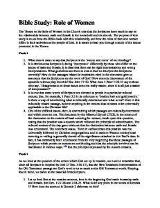 Bible Study: Role of Women
