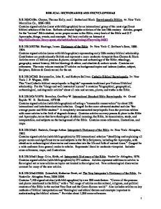 BIBLICAL DICTIONARIES AND ENCYCLOPEDIAS