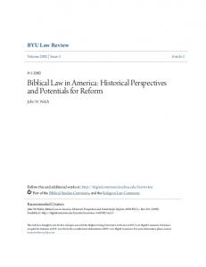 Biblical Law in America: Historical Perspectives and Potentials for Reform
