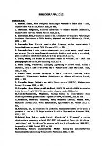 BIBLIOGRAFIA 2012 MONOGRAFIE:
