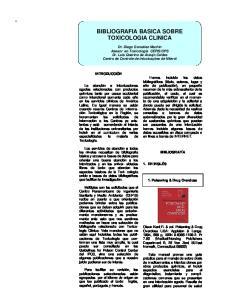 BIBLIOGRAFIA BASICA SOBRE TOXICOLOGIA CLINICA