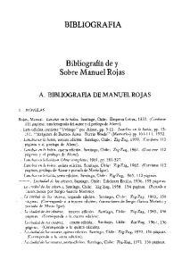 BIBLIOGRAFIA. Bibliografia de y Sobre Manuel Rojas