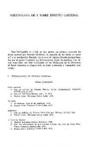 BIBLIOGRAFIA DE Y SOBRE ERNESTO CARDENAL