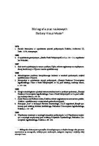 Bibliografia prac naukowych Barbary Krauz-Mozer 1