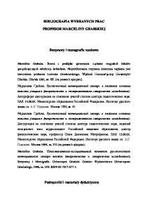 BIBLIOGRAFIA WYBRANYCH PRAC PROFESOR MARCELINY GRABSKIEJ. Rozprawy i monografie naukowe