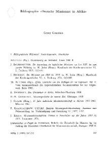 Bibliographie «Deutsche Missionare in Afrika»