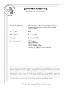 Bibliography for Corporate Author = Dow Chemical Company, Requested date: 2009