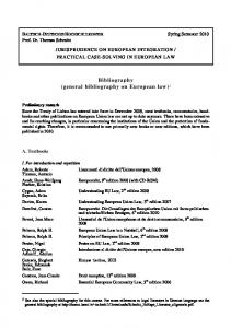 Bibliography (general bibliography on European law) 1