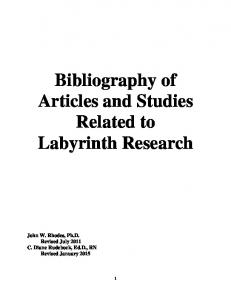 Bibliography of Articles and Studies Related to Labyrinth Research